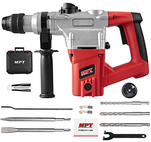 MPT 1 Inch SDS-plus 8.5 Amp Heavy Duty Rotary Hammer Drill,3 Function and Adjustabl Soft Grip Handle,Include 3 Drill Bits,Point and Flat Chisel with Case