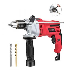 "Hammer Drill, 7.0A 1/2"" Rotary Hammer Drill with Dual Drill Modes, Variable Speed, 360° Rotating Handle for Concrete, Wood and Steel, 2 Masonry Drill Bits Included, Masterworks MEID377"