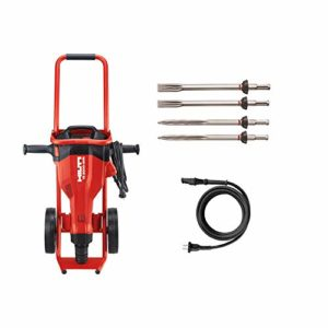 Hilti 15 Amp 120 Volt 1 in. TE 2000-AVR Polygon Demolition Jack Hammer Concrete Breaker Kit with Trolley, Cord and 4 Chisels