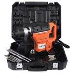 1-1/2″ SDS Electric Rotary Hammer Drill Set 1100W 110V 900 RPM Demolition Impact Drill for Concrete, Brick, Solid Steel, w/ 3 Drill Bits, Flat Point Chisels, Lubrication, Gloves, Storage Case(Orange)