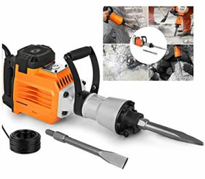2200 Watt Concrete Breaker Industrial Power Hand Tools Jack Hammer Punch Home 2 Chisel Bit Improvement Drill Demolition Electric Cutting Asphalt Removal Goggle Mask Gloves Trenching 360° Swivel Handle