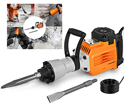 Concrete Breaker Industrial Power Hand Tools Jack Hammer Punch Home 2 Chisel Bit Improvement Drill Demolition Electric Cutting Asphalt Removal 3500 Watt Goggle Mask Gloves Trenching 360° Swivel Handle