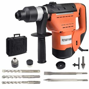 Goplus SDS Rotary Hammer, 1-1/2″ Electric Rotary Hammer Drill with Vibration Control, 3 Drill Functions, Plus Demolition Bits, Includes 3 Drill Bits,Point and Flat Chisel with Case