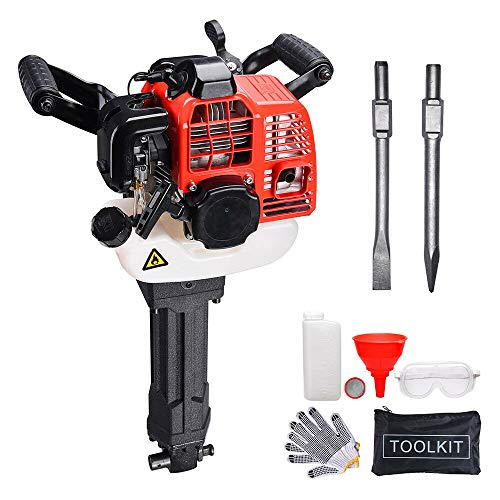 Manoch Electric Gas Demolition Jack Hammer 52cc Concrete Breaker Punch Drill Jackhammer Engine Type:Two-stroke, Air Cooled,Single Cylinder Max. Power & Speed:1900W&6500r/mini Fuel Tank Capacity:1.3L