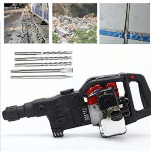 ZHFEISY Demolition Hammer Concrete Breaker Jack Hammer Drill Gasoline 1800W 2-Chisels