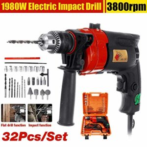 Costiana – 32Pcs 1980W Electric Brushless Impact Drill Drilling Guns Impact electric drill Electric Rotary Hammer Torque Driver Tool