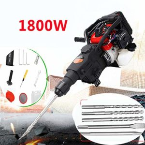 RanBB 1800W Electric Demolition Jack Hammer Concrete Breaker with Chisel 32.7CC 2 Stroke Drill Punch Bit