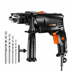 "Rotary Hammer Drill for Concrete, Lomvum 7.3Amp 3000RPM Electric Impact Drill, 1/2"" Metal Chuck Variable Speed Corded Drill for Brick/Wood/Steel/Masonry with 4 Drill Bit Set"
