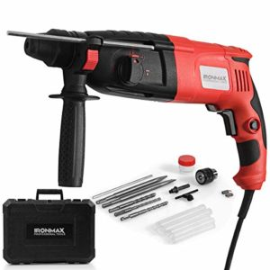 Ironmax Professional Tools 1″ SDS-Plus Rotary Hammer, 3 Mode in 1 Electric 9 Amp Corded Hammer Kit, with Adjustable Speed, Rotating Handle, Grease, Flat and Point Chisels, 3 Drill Bits and Case