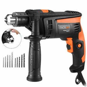 Hammer Drill, TACKLIFE 1/2-Inch Electric Drill, 2800 RPM, Hammer & Drill 2 Modes in 1, Keyed Chuck, 360°Rotating Handle, 12 Pcs Accessories Set, For Brick, Wood, Steel, Masonry – PID01A