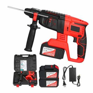 RIGTMAL 21V Brushless Cordless Rotary Hammer Drill 1 Inch SDS Plus Variable Speed Impact Hammer Kit 2x20000mAh Battery 4 Functions Variable-Speed Adjustable Handle with Storage Case