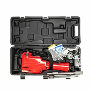 2200W Heavy Duty Electric Demolition Jack Hammer Drill Concrete Breaker 2 Chisel 2 Punch Bundle Tool Kit with Case, Gloves