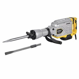 TOHUU 2700W Heavy Duty Electric Demolition Jack Hammer, Powerful Rock Pavement Concrete Breaker Drills Kit with Wheeled Case, Gloves, Goggle and Flat&Point Chisels Bits