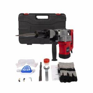 1280W 3800BPM Electric Demolition Jack Hammer Concrete Breaker Trigger Lock Hammer Drill with Bit/Chisel/Case/Goggle/Glove, Max Drill Diameter 1-1/2 inch
