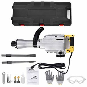 TOHUU 2300W Heavy Duty Electric Demolition Jack Hammer, Powerful Rock Pavement Concrete Breaker Drills Kit with Wheeled Case, Gloves, Goggle and Flat&Point Chisels Bits