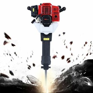 Demolition Hammer Gas Powerd Rock Drill Rock Breaker Hammer 1700w with Point and Flat Chisel Multi-function Crusher Demolition Drilling Hammer Jack Hammer 52cc Concrete Breaker Punch Drill