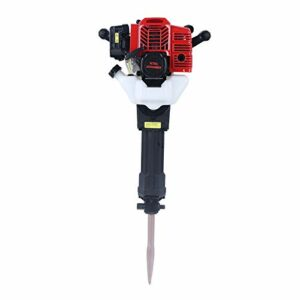 Demolition Hammer Gas Powerd Rock Drill Rock Breaker Hammer with Point and Flat Chisel Multi-function Crusher Demolition Drilling Hammer Jack Hammer 52cc Concrete Breaker Punch Drill