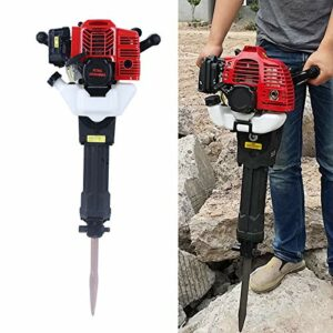 Demolition Hammer, Gas Powered Demolition Drill Jack Hammer Hand-held Rock Drill with Point and Flat Chisel,52cc 28.74 15.35 13.19 inches