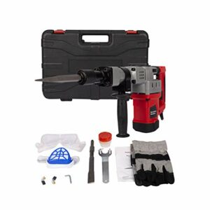 Electric Demolition Jack Hammer Heavy Duty Concrete Breaker Drills Kit with Carrying Case Gloves Goggle and Removal Tools