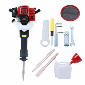 Gas Powered Demolition Jack Hammer Handheld Heavy Duty Concrete Breaker Rock Drill with Point and Flat Chisel,52CC,1500bpm
