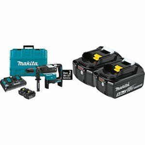 Makita XRH07PTUN 18V X2 (36V) LXT Lithium-Ion Brushless Cordless 1-9/16″ Advanced AVT Rotary Hammer Kit, SDS-MAX, AFT, AWS (5.0Ah) with BL1850B-2 18V LXT Lithium-Ion 5.0Ah Battery, 2/pk