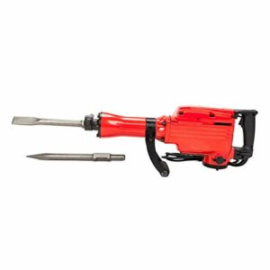 Stable & Versatile Heavy Duty Electric Hammer, Electric Demolition Jack Hammer, 1500W Concrete Breaker Chisels, 2200W, 1-1/8″, Red