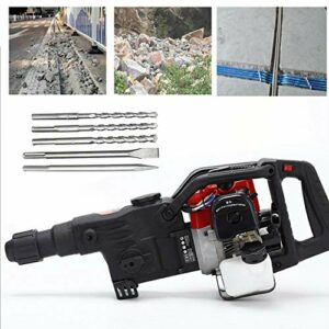 32.7CC 2-Stroke Demolition Hammer Drill Gas Powered Heavy Duty Concrete Breaker Machine Chisel Tools, Single Cylinder, Air Cooling System Industrial Construction Tools with Drilling Bits