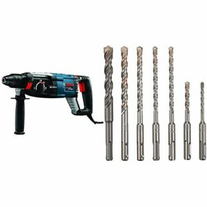 Bosch GBH2-28L 1-1/8″ SDS-plus Bulldog Xtreme Max Rotary Hammer and Bosch 7 Piece Carbide-Tipped SDS-plus Rotary Hammer Drill Bit Set with Storage Case HCK001