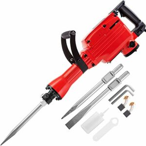 VEVOR Demolition Jack Hammer 1100W Jack Hammer Concrete Breaker 1200 RPM Heavy Duty Electric Jack Hammer 3 Chisel Bit W/Gloves & 360° Swiveling Front Handle for Trenching, Chipping, Breaking Holes