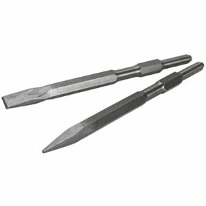 XtremepowerUS 2-Pieces Point and Flat Concrete Chisels for Electric Demolition Jack Hammer 5/8″ Hex Shank 2pc Chisel Bit Set