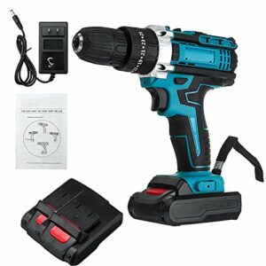 Cordless Drill Driver Kit,25+3 Speed 48V Electric Drills Impact Drill 3 Functions Electric Rotary Hammer Drill Impact Cordless Screwdriver With 2 Battery Built-in LED
