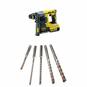 DEWALT DCH273B 20v Max Brushless SDS Rotary Hammer (Tool Only) with DEWALT DW5470 5-Piece Rock Carbide SDS Plus Hammer Bit Set