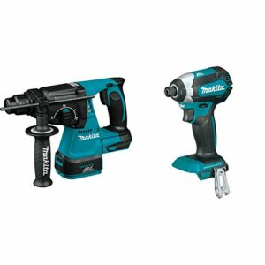 Makita XRH01Z 18V LXT Lithium-Ion Brushless Cordless 1″ Rotary Hammer, accepts SDS-PLUS bits, Tool Only with XDT13Z 18V LXT Lithium-Ion Brushless Cordless Impact Driver, Tool Only