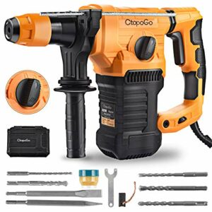 SDS-Plus 1500W Heavy Duty Rotary Hammer Drill 1-1/4 Inch, Safety Clutch 4 Functions with Vibration Control Including Grease, Chisels and Drill Bits with Case