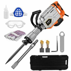 SUNCOO 2200W Electric Demolition Hammer, 1900BPM Heavy Duty Jackhammer Demolition Drills Powerful Rock Pavement Concrete Breaker with Gloves, Wheeled Case, Goggle and Flat&Point Chisels Bits