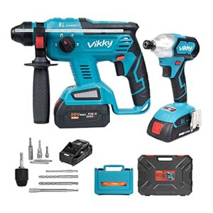 Vikky 20V Electrical tools Combination set SDS Plus rotary hammer drill & 1/4 inch Impact Driver
