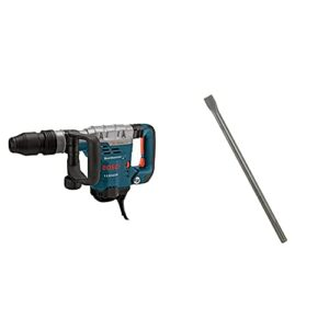 BOSCH 11321EVS Demolition Hammer – 13 Amp 1-9/16 in. Corded Variable Speed SDS-Max Concrete Demolition Hammer with Carrying Case & HS1912 1 In. x 18 In. Flat Chisel SDS-max Hammer Steel