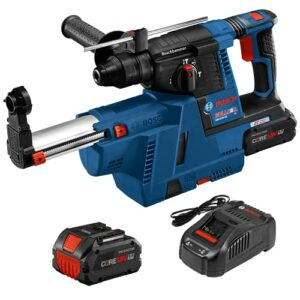 Bosch GBH18V18V-26K24AGDE Brushless SDS-plus Bulldog 1 In. Rotary Hammer Kit with Dust-Collection Attachment and (2) CORE18V 8.0 Ah PROFACTOR Performance Batteries
