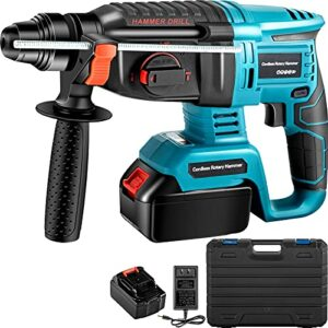 VEVOR SDS-Plus 1 In Rotary Hammer Drill 18V, 1400 rpm & 4500 bpm Variable Speed Electric Hammer, 4 IN 1 Cordless Drill, Measurable Hammer Ideal with 1 Battery, for Concrete, Steel, Wood