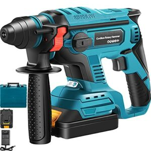 VEVOR SDS-Plus Rotary Hammer Drill 18V, 1400 rpm & 4500 bpm Variable Speed Electric Hammer, 4 IN 1 Cordless Drill, Measurable Hammer Ideal with 1 Battery, for Concrete, Steel, Wood