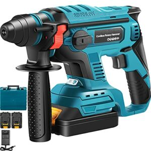 VEVOR SDS-Plus Rotary Hammer Drill 18V, 900 rpm & 4500 bpm Variable Speed Electric Hammer, 4 IN 1 Cordless Drill, Measurable Hammer Ideal with 2 Battery, for Concrete, Steel, Wood