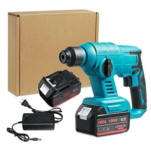 Cordless drill 1000W Brushless Cordless Electric Hammer Rechargeable Multifunction Impact Drill Rotary Hammer Power Tool for Makita 18V Battery By BYOLPMKK (Color : 2 Battery)