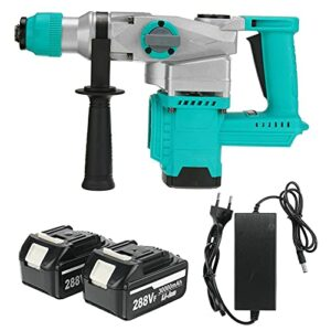 Cordless drill 3 in 1 288Vf Rechargeable Brushless Cordless Rotary Hammer Drill Electric Hammer Impact Drill Electric Pick with 2pcs Battery By BYOLPMKK (Color : Blue)