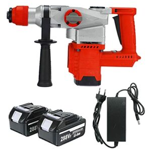 Cordless drill 3 in 1 288Vf Rechargeable Brushless Cordless Rotary Hammer Drill Electric Hammer Impact Drill Electric Pick with 2pcs Battery By BYOLPMKK (Color : Red)