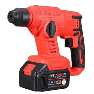 Cordless drill Brushless Electric Rotary Hammer Rechargeable Multifunction Electric Hammer Impact Power Drill Tool with Battery & Charger By BYOLPMKK (Color : Tpye F)