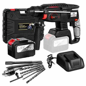 Hammer Drill Cordless, S SMAUTOP,4 in 1 Fuction Cordless Drill Kit,21V Max Impact Drill Set,SDS-Plus,Brushless Motor Stepless Speed,Rotary Hammer with 6.0AH Battery,Fast Charger and 8 Drills