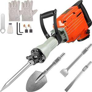 VEVOR Demolition Jack Hammer, 2200W Electric Demolition Jack Hammer w/ 4 Bits clay spade chisel & scraping chisel & flat chisel & pointed chisel, 1400 RPM Concrete Breaker, 360° ROTARY Electric Hammer