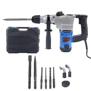1050W 3000 RPM Electric Demolition Jack Hammer Heavy Duty Concrete Breaker Drills Kit with Carrying Case and Removal tools (Blue)