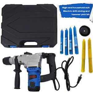 1050W 3000 RPM Electric Demolition Jack Hammer Heavy Duty Concrete Breaker Drills Kit with Carrying Case Gloves and Removal tools