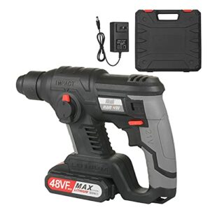 21V Rotary Hammer Drill 780 RPM Cordless Drill Demolition Kit with 2.0Ah Lithium Battery LED Light Carry Box for Concrete